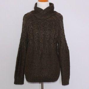 Zara Cable Knit Mock Neck Sweater